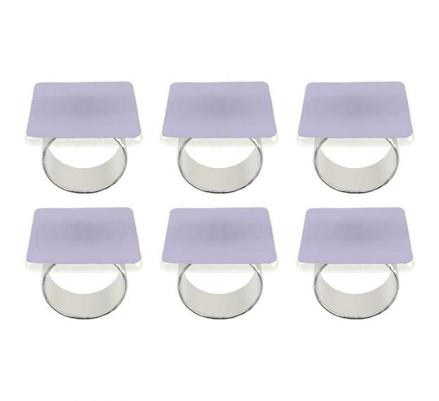 Purple Napkin Rings - Medo Lilac Napkin Ring Holders | AnnaVasily - Set View