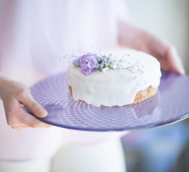 Purple glass cake stand