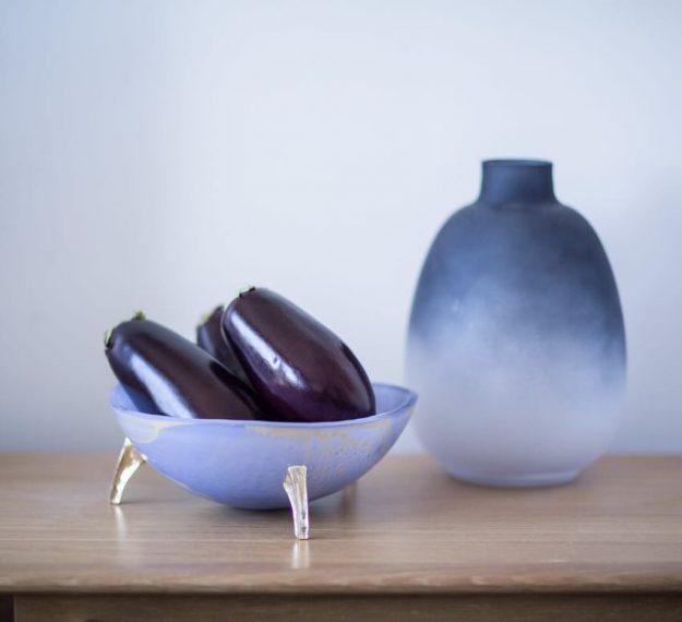 Organic shaped decorative glass bowls