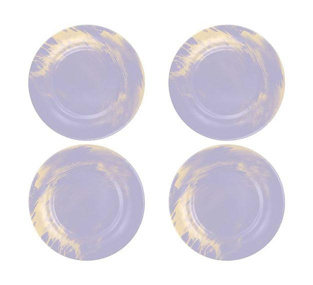 Violet Plates - Sostra Set/4 Light Purple Glass Plates | AnnaVasily - Set View