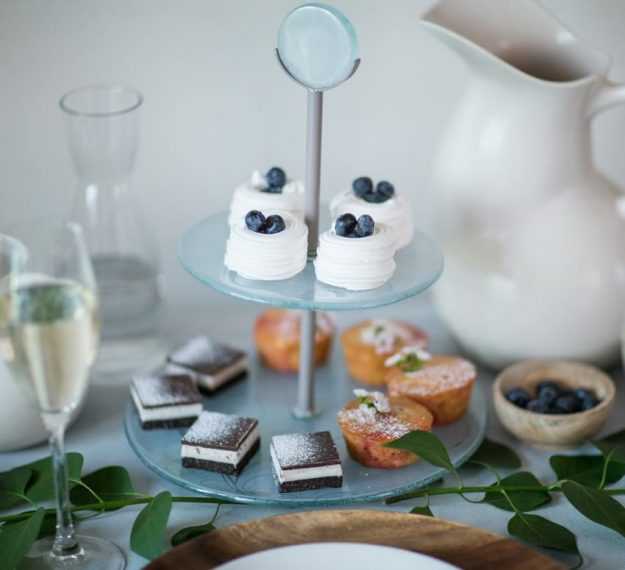 Round blue high tea stand, Sym small glass 2 tier cake stand by Anna Vasily for high tea parties.