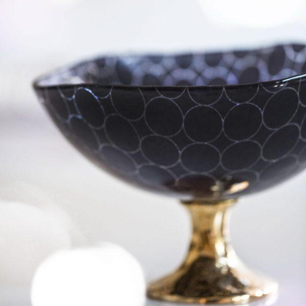 Navy Blue Fruit Bowl Centrepiece Zenia Designed by Anna Vasily