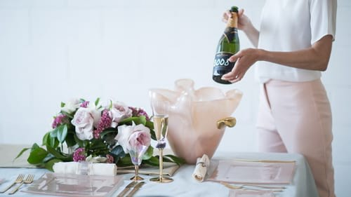 Champagne accessories by Anna Vasily featuring the pink champagne bucket Elan.