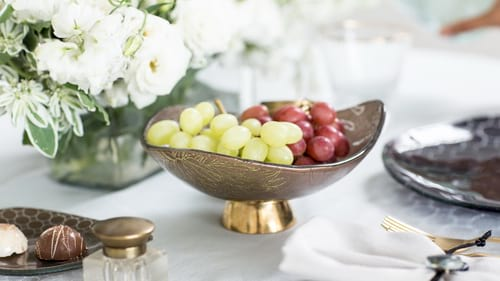 Decorative glass bowls & vases with the brown bowl Loren by Anna Vasily