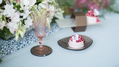 Unique elegant glass coasters for cocktail parties to update your serveware by Anna Vasily.