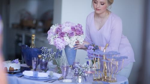 Purple tableware and luxury purple home decor accents for the modern host by Anna Vasily.
