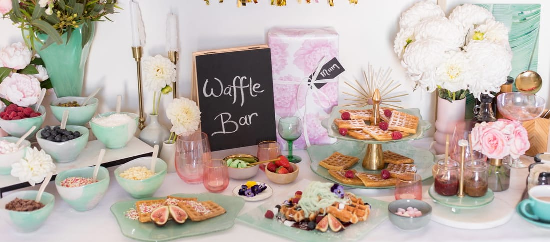 Mint Green Waffle Bar for Mother's Day