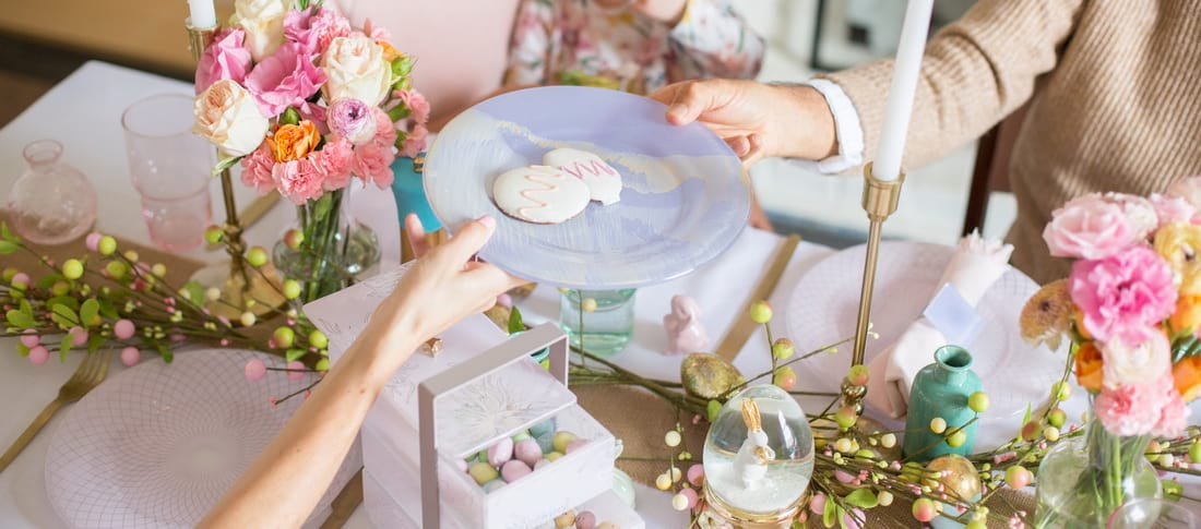 Pastel Easter Brunch Ideas - How to Style Your Table With Pink and Purple Tableware for Easter