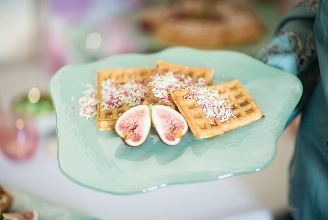 Host a fancy Mother's Day party with a gorgeous waffle bar!