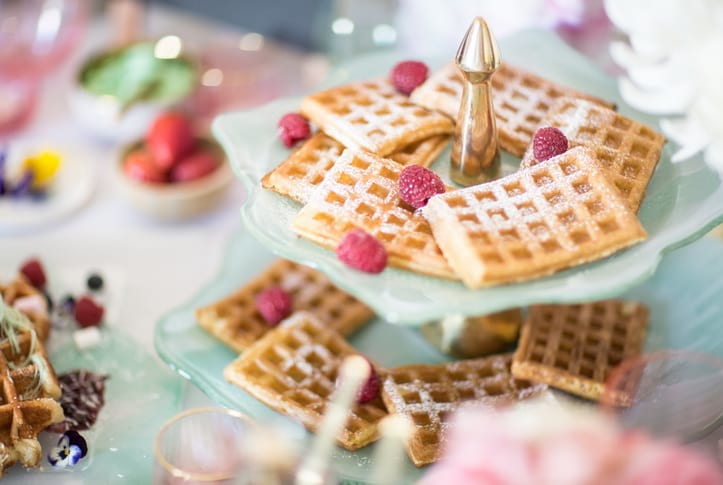 Create a waffle tower for an elegant Mother's Day party with mint green tableware.