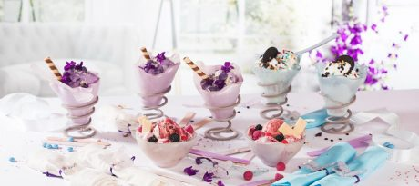 Unique colourful ice cream bowls filled with ice cream