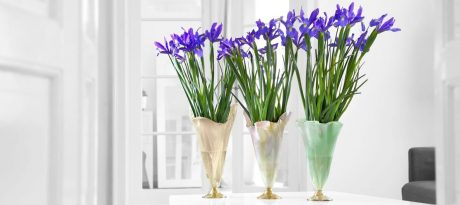 Purple Irises in Designer Glass Flower Vases With Bronze Pedestals in Pink, Mint Green and Beige by AnnaVasily