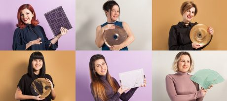 6 women presenting 6 different artisan dishes on 6 colourful backgrounds.