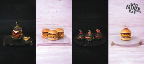 AnnaVasily navy blue and pink cake stands and platters used as burger plates with gourmet burgers for Father's day.